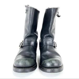 Frye Men's Smith Engineer Black Leather Boots